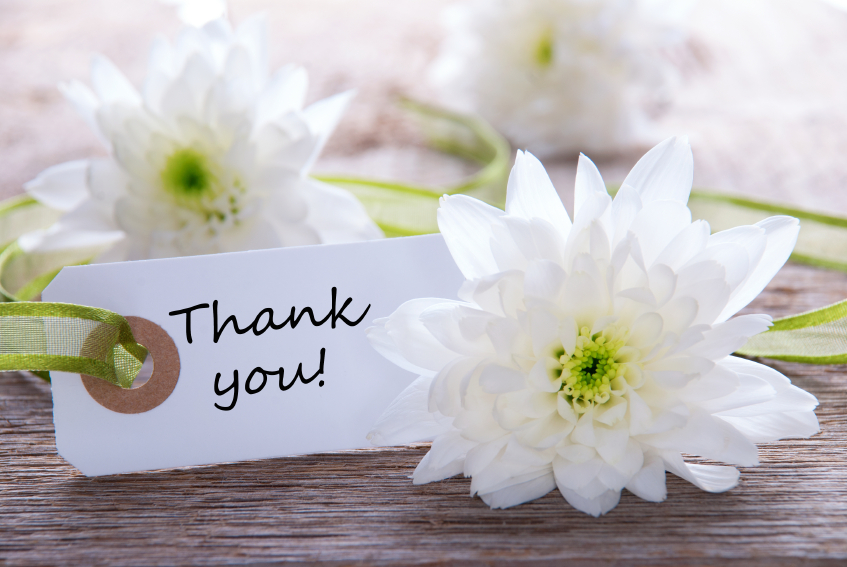 White Label with Thank You and white Blossoms